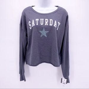 Grayson Threads Saturday Cropped Sleep Sweatshirt